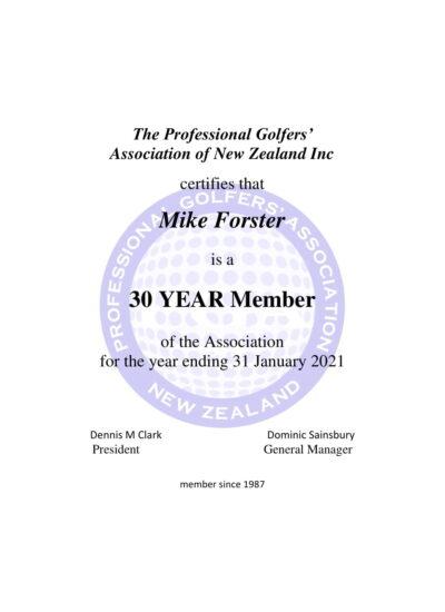 Mike Forster Certificate NZPGA